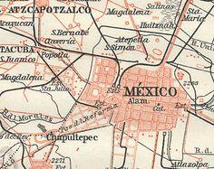 1909 Antique Map of Mexico City, Mexico