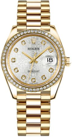 178278 Rolex Datejust 31 Champagne Diamond Dial Solid Yellow Gold Watch with Fluted Bezel - Authenticity Guaranteed Elegant Watches, Beautiful Watches, Stylish Watches, Cool Watches, Watches For Men, Wrist Watches, Sport Watches, Silver Pocket Watch, Popular Watches