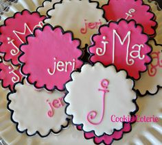 Monogram Decorated Sugar Cookies Baby Shower Bridal Shower Birthday Party Favors., via Etsy.