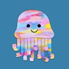 Watercolour Jellyfish – Make Film Play Kindergarten Art Lessons, Preschool Art Projects, Art Lessons Elementary, Craft Activities For Kids, Preschool Activities, Watercolor Jellyfish, Jellyfish Art, 1st Grade Crafts, Under The Sea Crafts