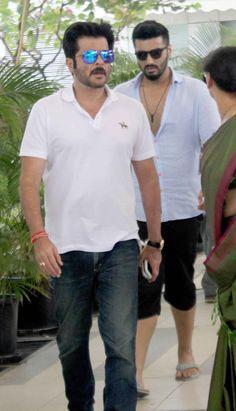 Anil Kapoor followed by nephew Arjun Kapoor spotted at the Mumbai airport.