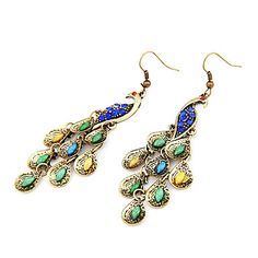 Vintage Peacock Earrings With Colorful Gem – USD $ 2.99