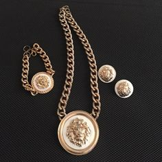 Versace inspired,necklace bracelet earrings set Beautiful Versace inspired necklace set. Gold and white. Only used 2-3 times Versace Jewelry Necklaces
