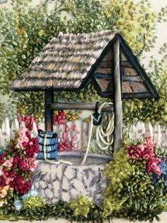 Embroidered Wishing Well. Ribbon Embroidery Tutorial, Silk Ribbon Embroidery, Hand Embroidery Patterns, Embroidery Art, Embroidery Stitches, Embroidery Designs, Ribbon Art, Ribbon Crafts, Ribbon Flower