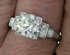 Art Deco Engagement Ring European cut by myvintagediamondring