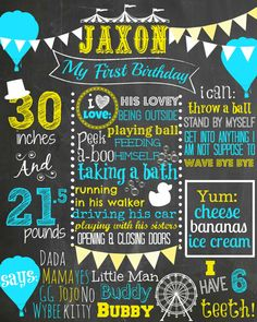 Custom First Birthday Colored Chalkboard Poster/ Invitation - Birthday Sign -Carnival Theme - Blue and Yellow - Balloons - Circus on Etsy, $25.00