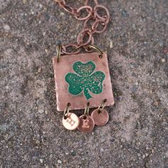 Brighten your March wardrobe with our Shamrock Initial Necklace by Chatterbyhammer 🍀
