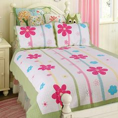 @Overstock.com - This flower twin-size quilt set is perfect for a little girls bedroom. It is made with a 100 percent cotton cover with 100 percent cotton fill. This patchwork quilt features a light background with a colorful green, blue, and red floral design.http://www.overstock.com/Bedding-Bath/Spring-Fling-Flower-Twin-size-Quilt-Set/6157261/product.html?CID=214117 CAD              71.32