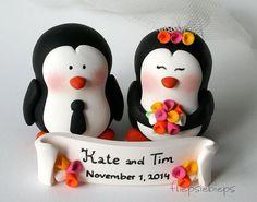 Customise Penguin Wedding Cake Topper by fliepsiebieps on Etsy