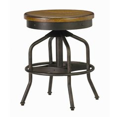 Wood and metal swivel stool in distressed hickory with an adjustable seat.    Product: StoolConstruction Material: W...