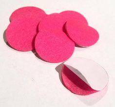 1.5 inch hot pink ADHESIVE die cut felt circles. Hundreds of elastics, FOE, flowers, rhinestones, jewelry findings & more too!