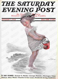 Little girl with bucket at beach. August 1, 1914. Stilwell-Weber remains a prominent name from the Golden Age of American illustration (1880s-1920s), when American periodicals were rich in artwork that could be mass-produced for the first time. She was also a well-known children's book illustrator.