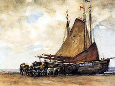 Willem de Zwart,  A Bomschuit on Scheveningen Beach