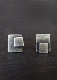 Asymmetrical Geometric Studs, Modern Post Earrings, Industrial Jewelry