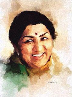 Lata Mangeshkar: The living legend. 1080p Wallpaper, Disney Wallpaper, Watercolor Portrait Painting, Watercolour, Hanuman Wallpaper, Lata Mangeshkar, Guitar Painting, Indian Festivals, Music Photo