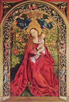 Madonna delle rose. 1473. Chiesa dei Domenicani a Colmar. Tempera su tavola. 200x115. Dürer ebbe occasione di vederla a Colmar, dove si trasferisce presso i figli di Schongauer. Successivamente a Strasburgo incontrerà Hans Baldung Grien.