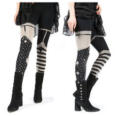 PREORDER Pirate Girl Leggings garter legging thigh high tights,... ($33) ❤ liked on Polyvore featuring intimates, hosiery, tights, striped pantyhose, striped thigh high stockings, thigh high stockings, thigh high pantyhose and striped stockings