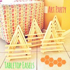 Handmade easels for Bella's Art Party by Party In A File