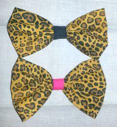 Leopard Fabric Hair Bows $4