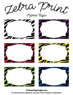 Free printable zebra print name tags. The template can also be used for creating items like labels and place cards. Download the PDF at http://nametagjungle.com/name-tag/zebra-print/