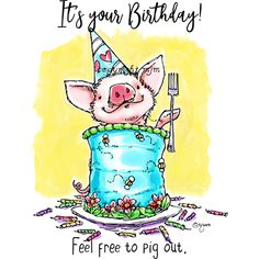 Birthday Pig Happy Birthday Pig, Pig Birthday Cakes, Birthday Clips, Happy Birthday Images, Birthday Pictures, Happy Brithday, Birthday Greeting Cards, Birthday Greetings, Birthday Wishes