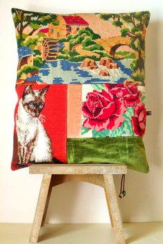 UNIQUE French Needlepoint Tapestry Antique Linen by Retrocollects (Diy Pillows Embroidery)