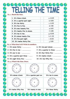 TELLING THE TIME worksheet - Free ESL printable worksheets made by teachers