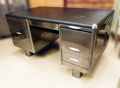 AMAZING RARE BRITISH STEEL TANKER DESK Itu0027s Big, With A Large Metal Shelf  On A Sprung Mechanism That Comes Out Of The Left Door And Will Lift A  Typewriter ...