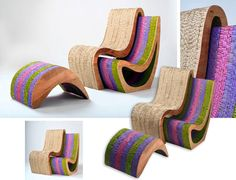Recovered Cardboard Shaped Into Sleek Wavy Chairs And Tables At FPD In Buenos Aires