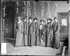 The Chicago Police Department welcomed female officers in 1913; 1914 image shows Agnes Walsh, Anna Loucks, Theresa Johnson, Anna Sheridan, Lulu Burt, Mabel Rockwell, and Clara B. Olsen.