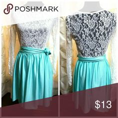 """Easter Mint Green Lace Dress Lace lomg sleeve dress. Armpit to armpit 18"""" length 32"""". Stretchy Dresses"""
