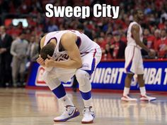 Clippers forward Blake Griffin reacts next to teammate Chris Paul in Los Angeles. Lob City...more like Sweep City.    http://thesportstoilet.com/