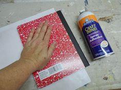Decorated Composition Notebooks - basic idea ( but I would sand edges vs folding overlap)