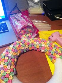 valentine's day candy heart wreath