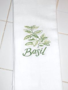 Basil Herb Decorative Flour Sack Tea Towel by ColdStreamCrafts