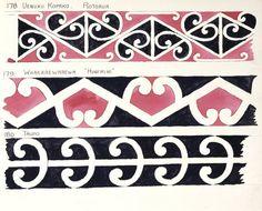 "[Drawings of Maori rafter patterns]. 178. Uenuku Kopako, Rotorua; 179. Whakarewarewa, ""Hinemihi""; 180. Taupo. [1943?]"