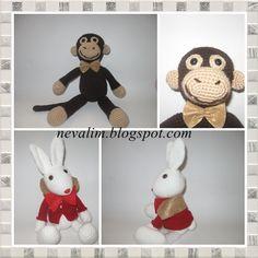 en çok sevdiğimi tavşanlardan alice in tavşanı benny bunny ve kahverengi papyonlu maymunumuz çevirisi ile karşınızda:)