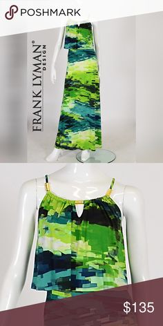 """✳️Frank Lyman Maxi Versatile Maxi dress with a scooped, keyhole neckline with gold detail and a fashionable overlay that finishes just above the natural waistline. Colors are lime, green, & hints of Navy. It can easily be teamed with heels or flats, and is perfect for any summer event or holidays. Length approx: 58"""" Frank Lyman Dresses Maxi"""