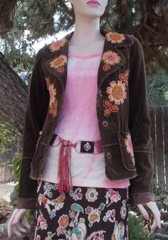 1980s Joystick Hippie Chic Brown Cotton Floral Embroidered Women's Long Sleeve…