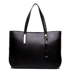 Ladies Designer Leather Style Large Tote Bag Shoulder Satchel Handbag (Black)