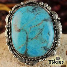 Huge-turquoise-Heavy-sterling-silver-Navajo-bracelet-925-signed-by-Henry-Sam
