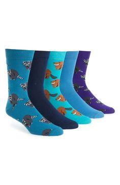 Topman Raccoon & Beaver Print Socks (5-Pack)