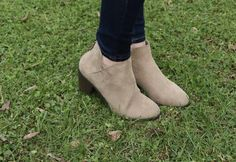 We are positively loving these suede taupe booties! These will go with most anything and the lower heel will be super comfy to wear all day long! Girls Boutique, Low Heels, Taupe, Comfy, How To Wear, Shoes, Fashion, Moda, Zapatos