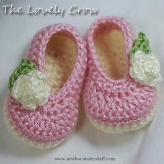 Crochet Baby Booties PDF Crochet Pattern for Baby Rosey Ballet Slippers -  4 size...