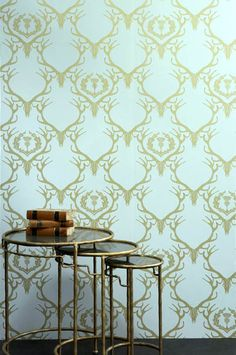 Barneby Gates Deer Damask Wallpaper - Duck Egg Blue/Antique Gold