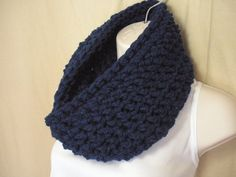 Navy Blue Cowl Infinity Circle Scarf Neckwarmer by madebymandy35