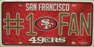 San Francisco 49 ers #1 Fan NFL novelty car, license plate tag These plates are manufactured in America free shipping San Francisco 49ers, Fan, License Plates, Ships, America, Free Shipping, City, Style, Products