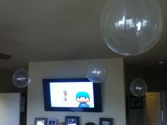 A good idea for a underwater themed party. Get clear a balloons and fishing string, and hang it from the ceiling as bubbles. Doing this right now for my 2 year olds cousins birthday party.