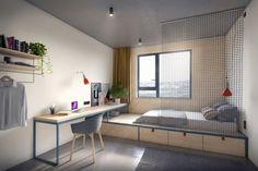 State-of-the-art student housing: BaseCamp-designer-dorm-room-Potsdam-Germany, designed by Studio Aisslinger.