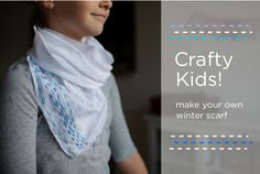Kids DIY winter scarf. Easy introduction to embroidery
